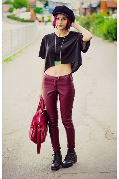 cropped nowIStyle top - leather H&M pants