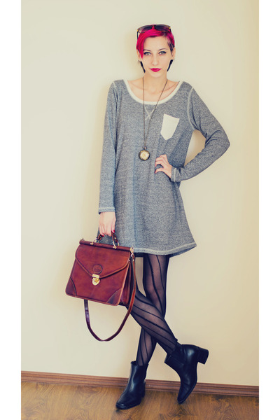 leather ankle second hand boots - gray pocket nowIStyle dress