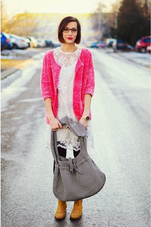 lace Front Row Shop dress - Nmenouno bag - christine knit Noisy May cardigan