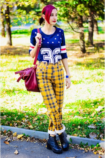 Choies t-shirt - tartan second hand pants