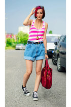 striped nowIStyle top - DIY shorts