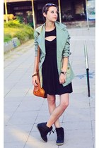 green second hand jacket - H&M dress - high wedge top River Island sneakers