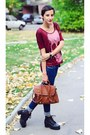 Slim-jeans-burgundy-skull-new-yorker-shirt