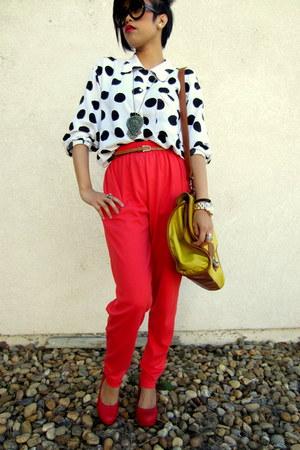 orange high waist Weekenders pants - yellow satchel urban originals bag