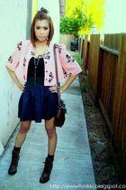 pink vicarious vintage cardigan - black H&M top - blue Spring Street skirt - bla