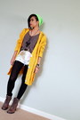 Mustard-distressed-knit-oasap-cardigan-brown-lace-up-steve-madden-boots