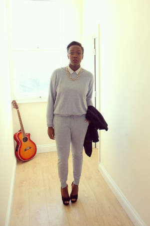 navy Forever 21 blazer - silver Topshop sweater - silver Topshop pants