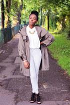 white H&M shirt - dark khaki parker Primark jacket
