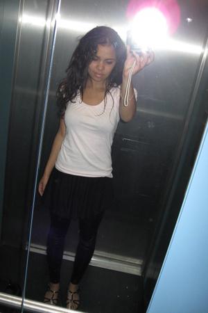 Mango top - H&M skirt - Vero Moda leggings - Minelli shoes