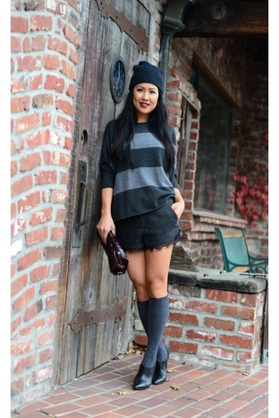 Kenneth Cole boots - Lululemon hat - vince sweater - Zara shorts