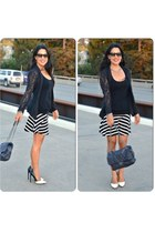 lace Juicy Couture blazer - Chanel bag - striped Express skirt - LAMB pumps