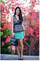 rider loeffler randall bag - green suede Maje skirt - black Forever 21 top