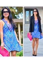 blue lace Three Floor dress - Alice and Olivia blazer - bcbg max azria bag