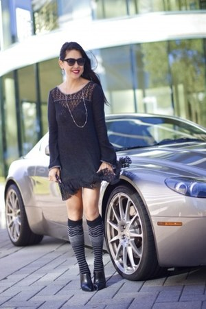 black Kenneth Cole boots - black free people dress - black SmartWool socks