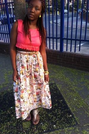 crop vintage top - maxi skirt vintage skirt