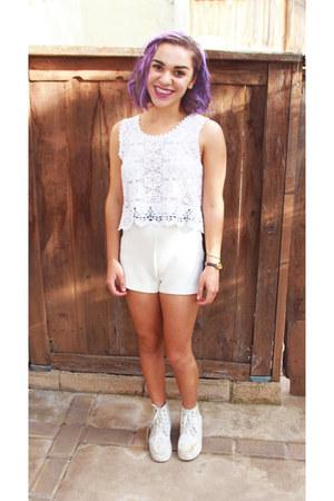 white asos boots - white Forever 21 shorts - white random top