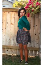 brick red skirt - teal shirt