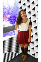 maroon f21 skirt - brown Steve Madden boots - charcoal gray Target socks