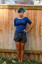 blue f21 top - gray papaya shorts - aquamarine Icing cardigan - teal Claires acc