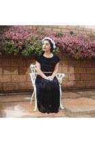 black crochet Thrift Store top - black lace maxi Thrift Store skirt