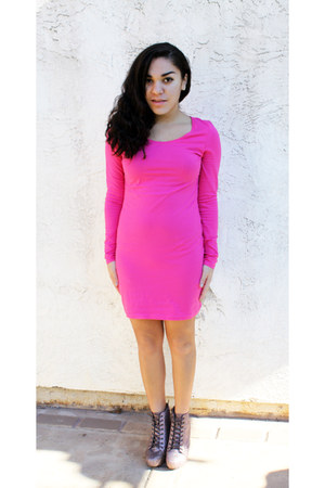 pink GoJane boots - hot pink neon H&M dress