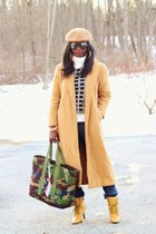 tan Diane Von Furstenberg coat - army green camouflage LL Bean bag