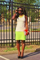 carrot orange neon Steve Madden purse - white peplum H&M shirt