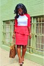 Red-baseball-tee-american-apparel-shirt-red-peplum-zara-skirt