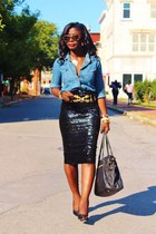 black sequins asos skirt - blue chambray nobo shirt