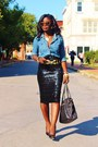 Blue-chambray-nobo-shirt-black-sequins-asos-skirt