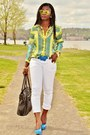 White-jeans-cuffed-7fam-jeans-yellow-scarf-print-zara-shirt