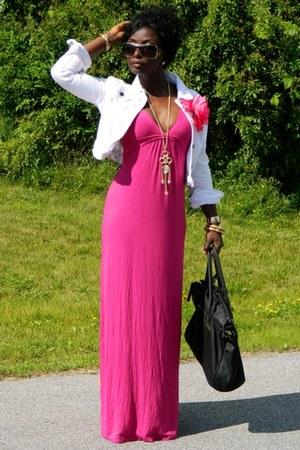 hot pink Ambiance dress - white nobo jacket