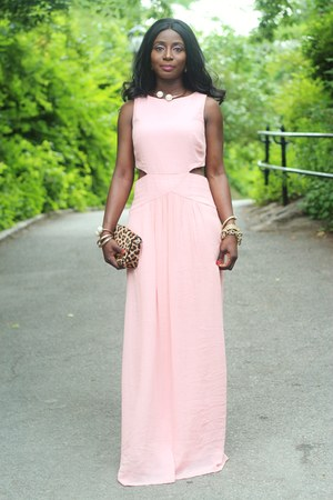 light pink cut out nicole miller dress
