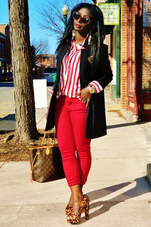 ruby red Susie Rose pants - black H&M jacket