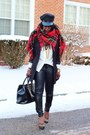 Red-plaid-nyc-scarf-black-leather-h-m-pants