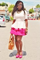 peach peplum H&M top - camel tillary tote JCrew bag