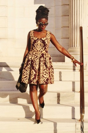 black baroque print asos dress