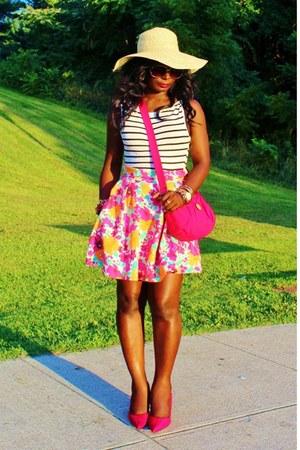 hot pink Zara skirt - white stripes Forever 21 shirt