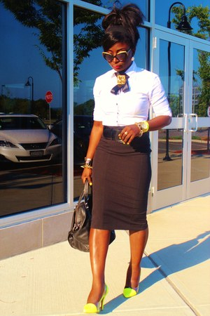 black pencil skirt marcys skirt - white NY&amp;CO shirt
