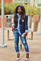 navy crest Ralp Lauren blazer - navy boyfriend Sinclair jeans