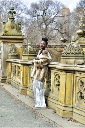 H&M dress - off white faux fur vintage coat