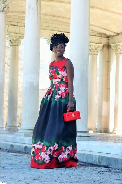 red floral print Tahari dress