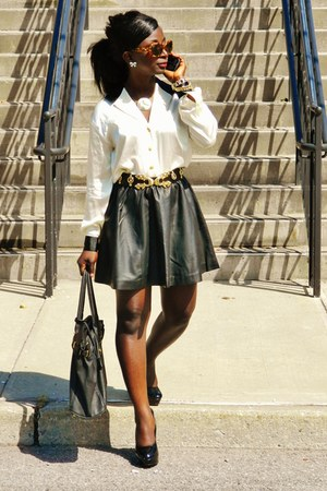 black leather skirts H&M skirt