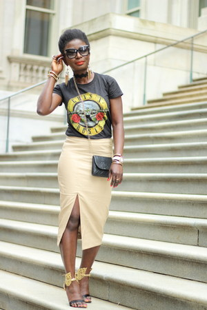 black Guns and Roses t-shirt - tan faux leather bardot skirt