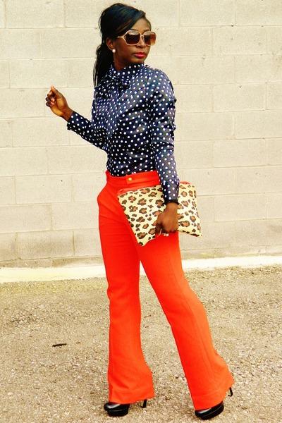 carrot orange tangerine tango Loft pants - black polka dots Anitella Femme shirt