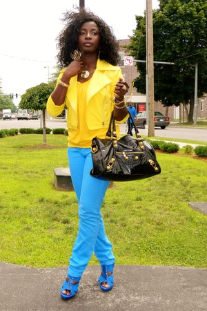 yellow Sele jacket - sky blue thrifted pants