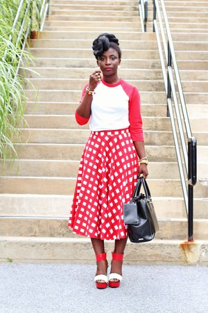 red gingham asos skirt - red baseball American Apparel shirt