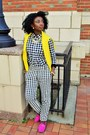 Yellow-jcrew-sweater-hot-pink-gucci-loafers