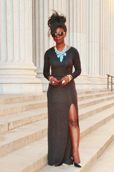 blue LorraineTyne necklace - black slitmaxi Missguided dress