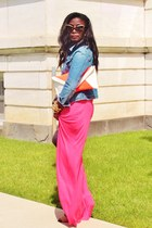 blue jeans Gap jacket - hot pink maxi skirt Marshalla shirt